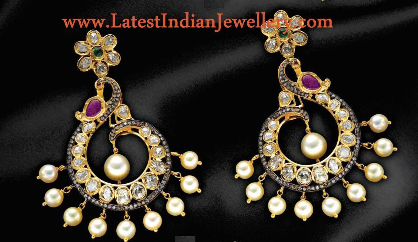 peacock design chandbali earrings