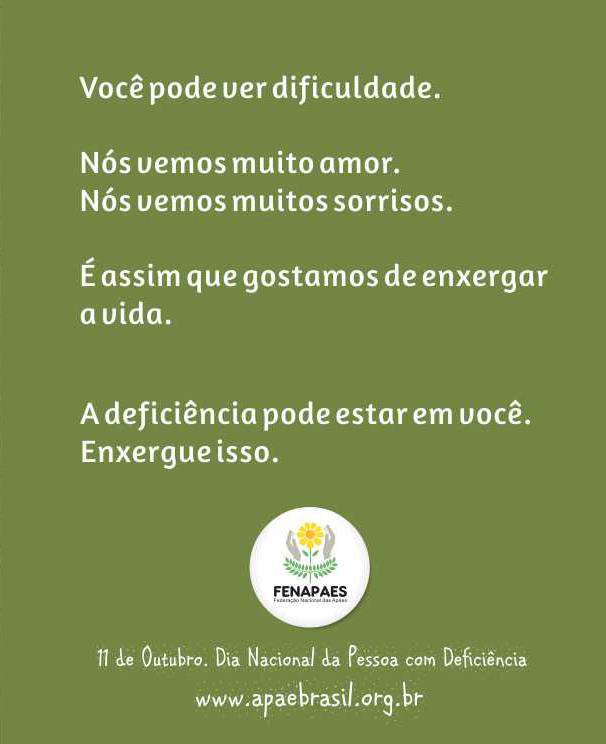 11 de Outubro.Dia Nacional da Pessoa com Deficiência.