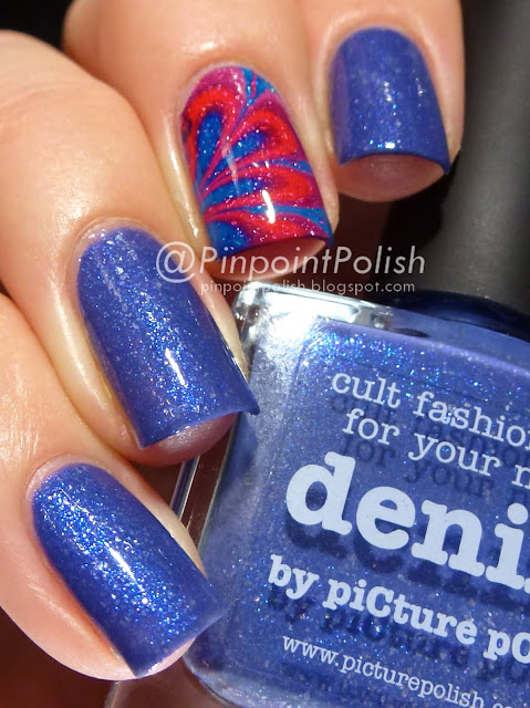 Denim, Picture Polish, swatch, watermarble