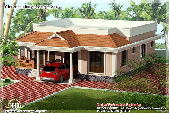 Single floor Kerala villa