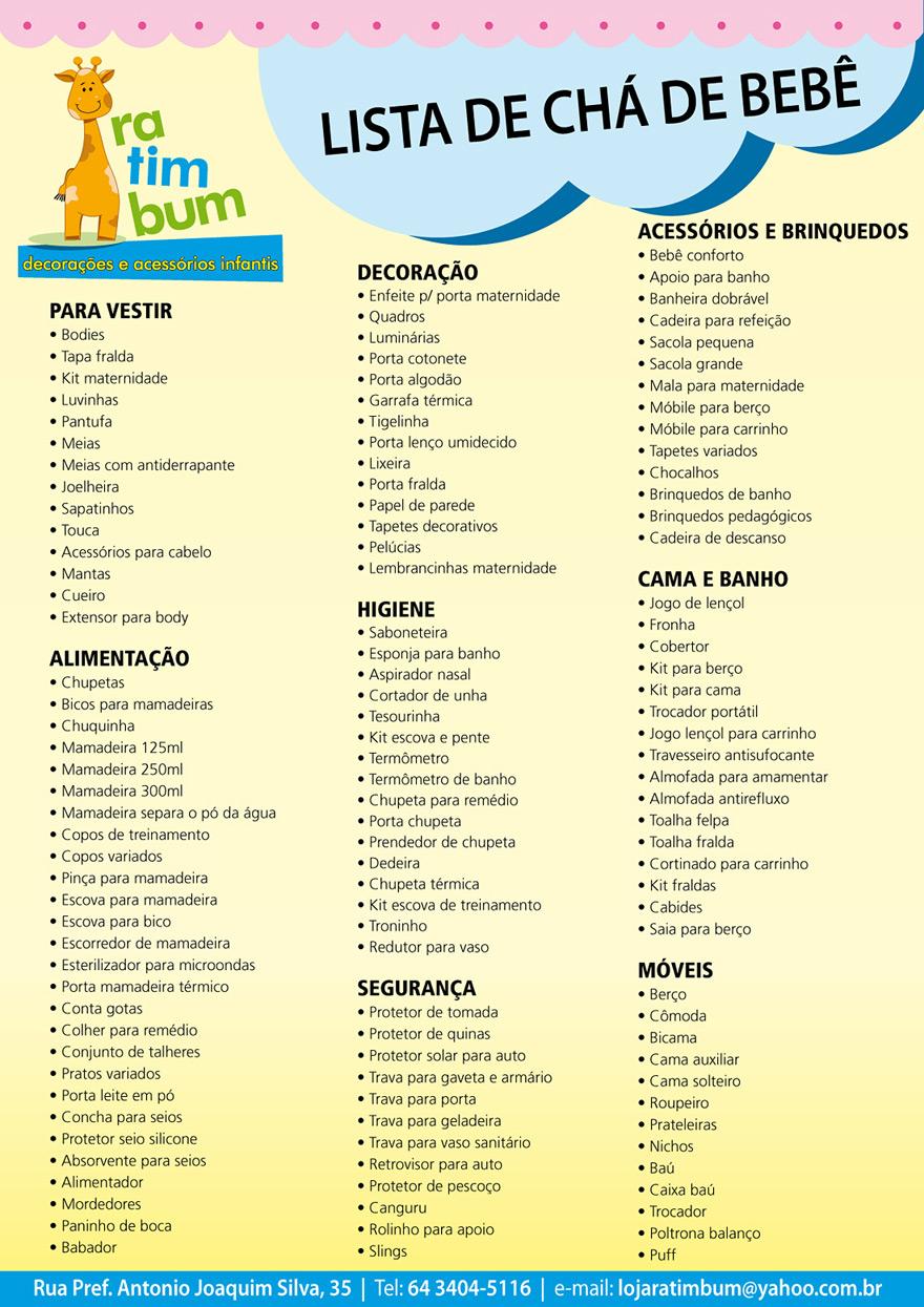 Lista Cha De Bebe Basica Cal As Na Moda 2014 ~ Lista Chá De Cozinha Pronta