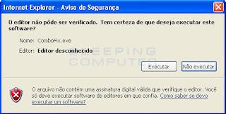 Removendo malwares com o programa Combofix