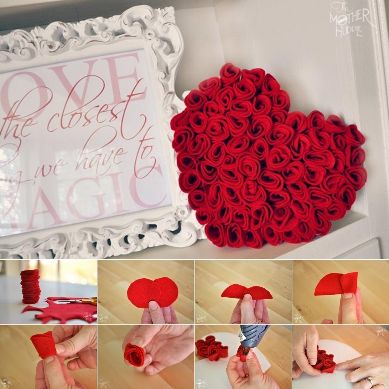 Diy felt roses heart diy craft projects for Diy rose food