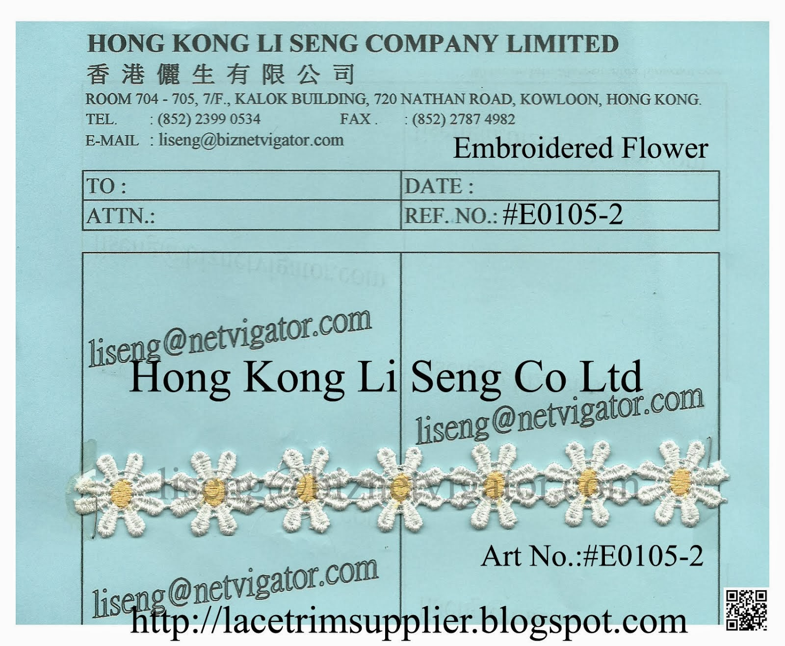 Embroidered Lace Flower Manufacturer - Hong Kong Li Seng Co Ltd