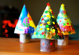 3D Paper plate and Toilet Roll Christmas Trees
