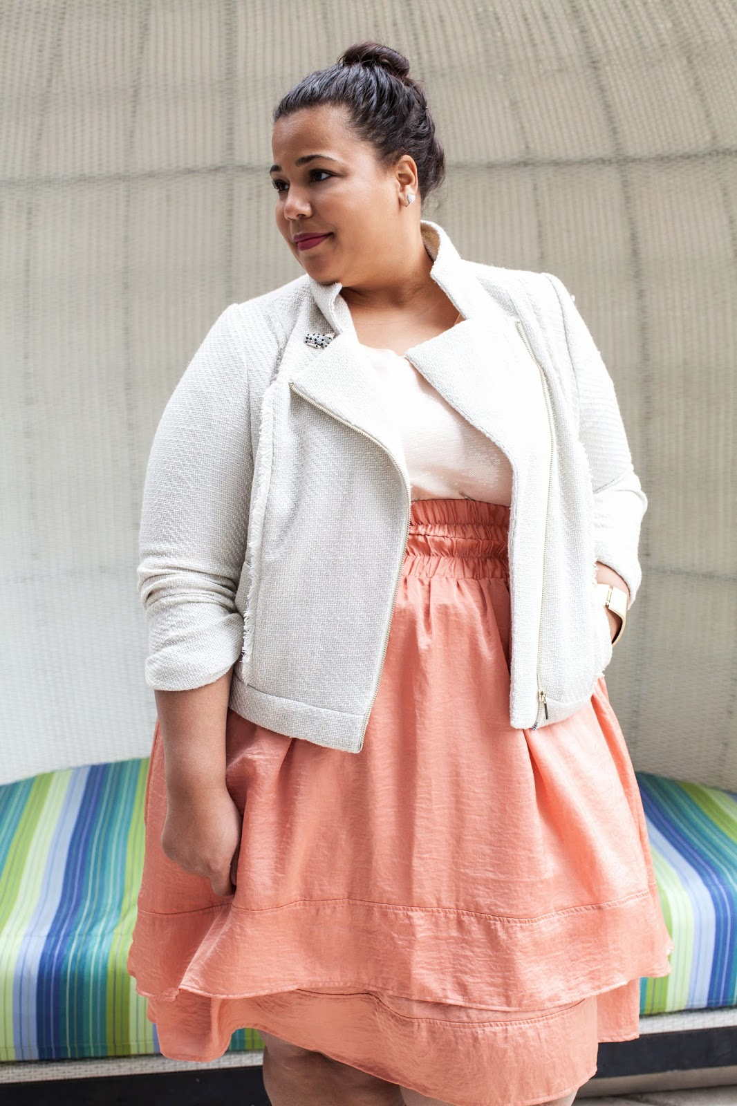 Plus size fashion, plus size tweed jacket, Lane Bryant