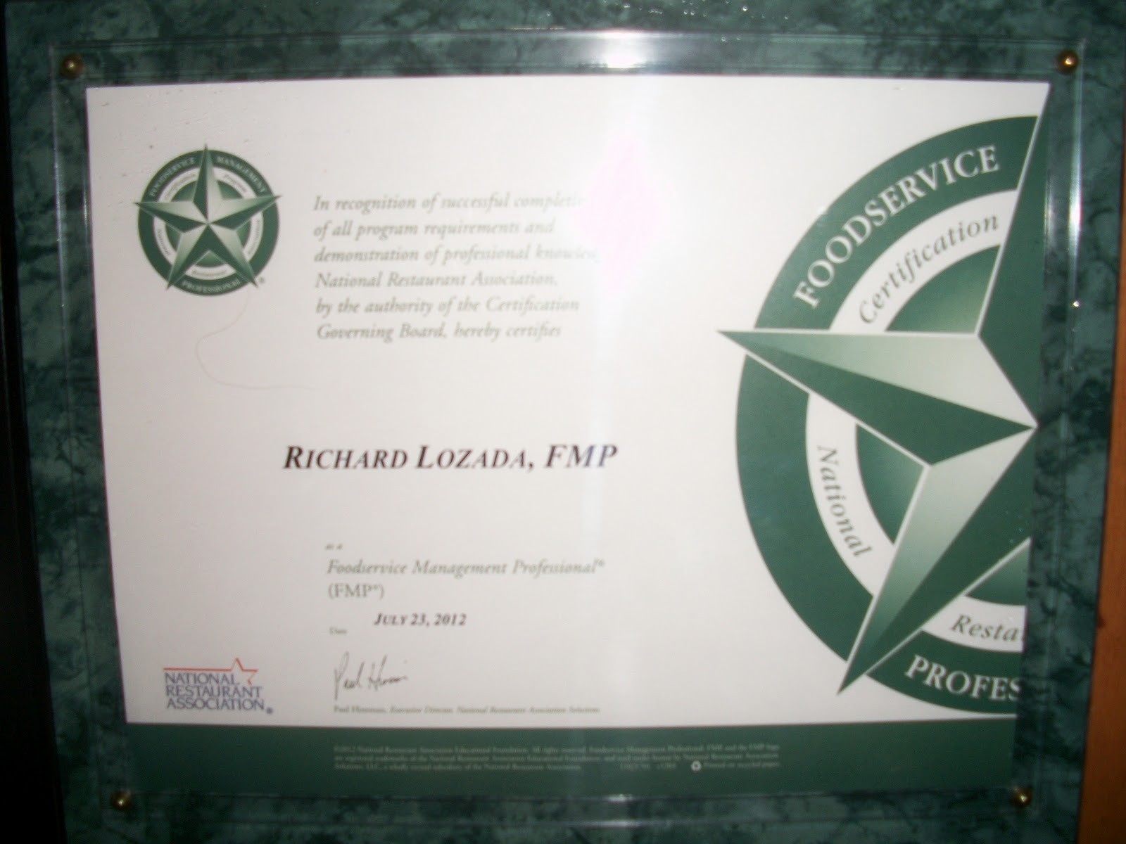 Be the benchmark lozada certified fmp richard lozada westminster place has been certified in the national restaurant association solutions foodservice management professional fmp 1betcityfo Gallery