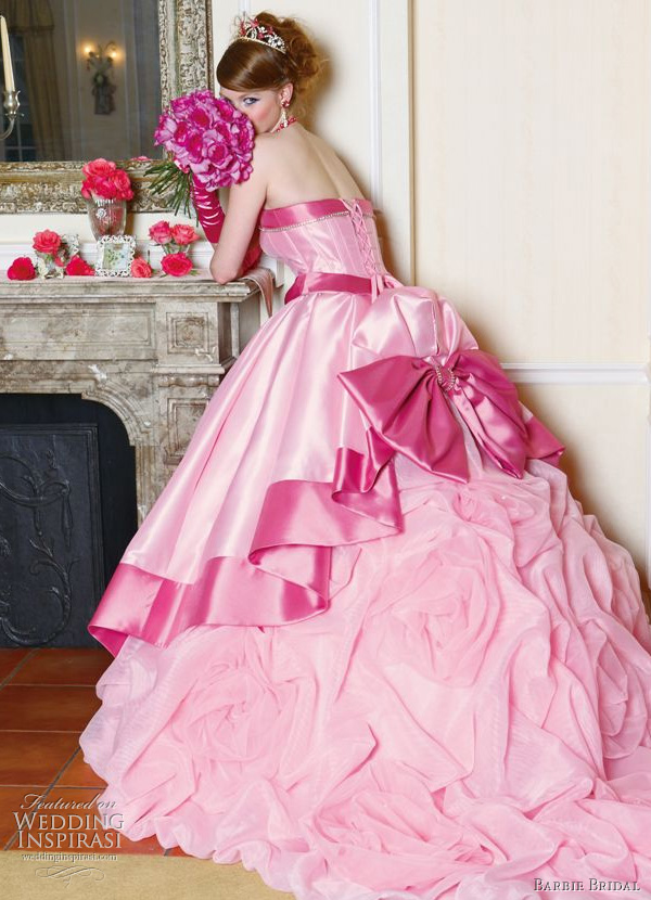 Big Pink Wedding Dress Designs For Girls