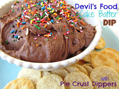 chocolate dip in white dish with pie crust rounds around edge on blue plate and words