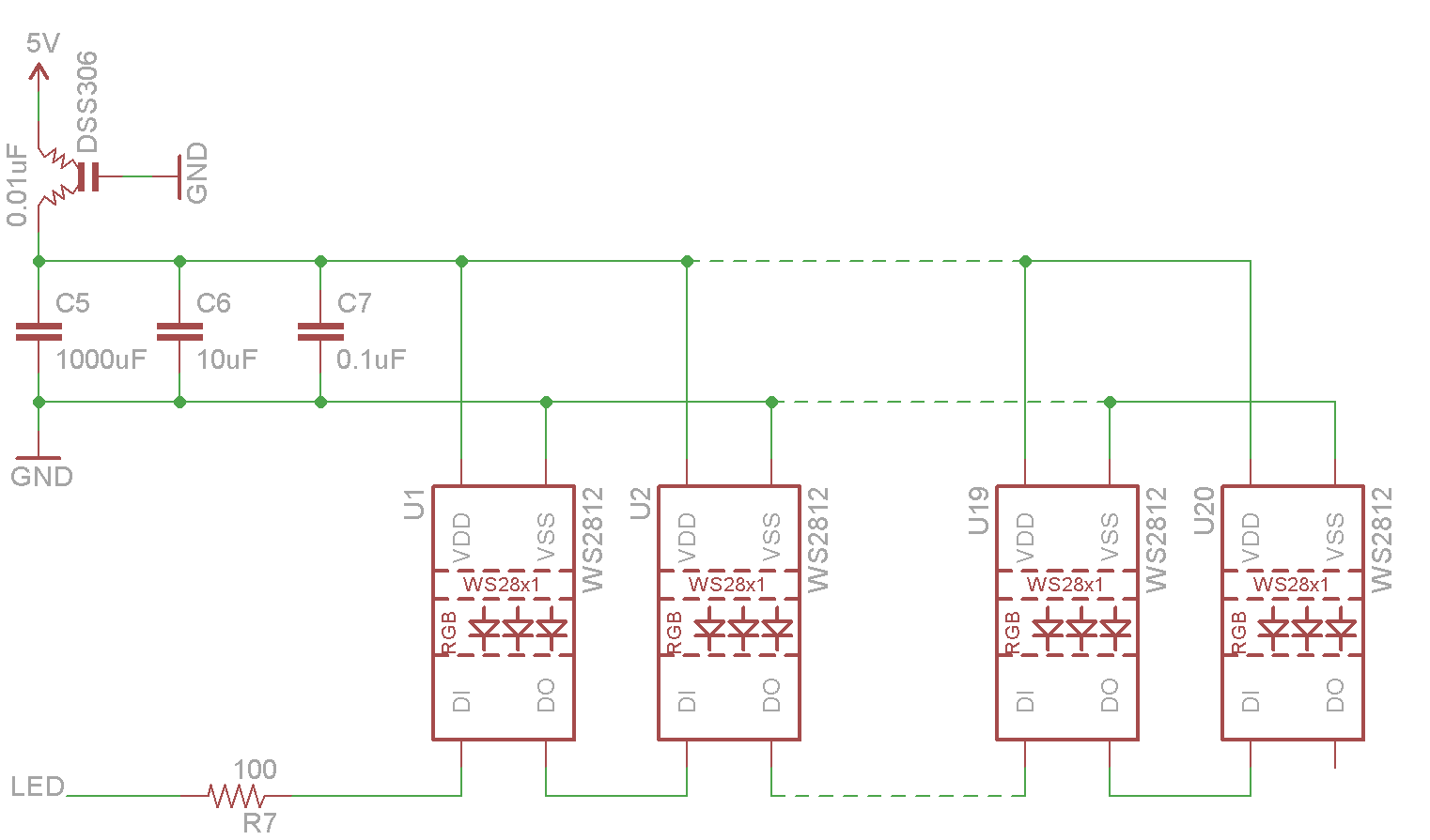Bored Me Pic A Chip Any Daisy Chain Wiring Diagram So Simple Of Leds Might Be Wired Up Like This You Can Actually Buy These Same Neopixels Already On Metre Long Strip Or Ring