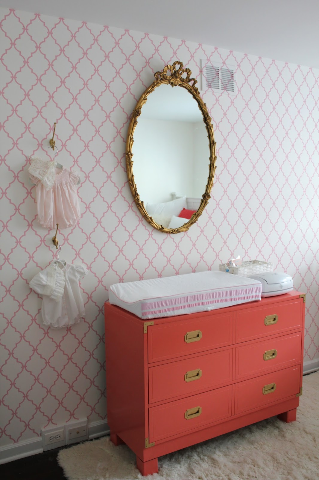 Antique pink nursery : Pink and gold dresser with mirror