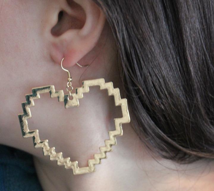 Digital Love Gold Heart Earrings Pixel Art 8-bit jewelry