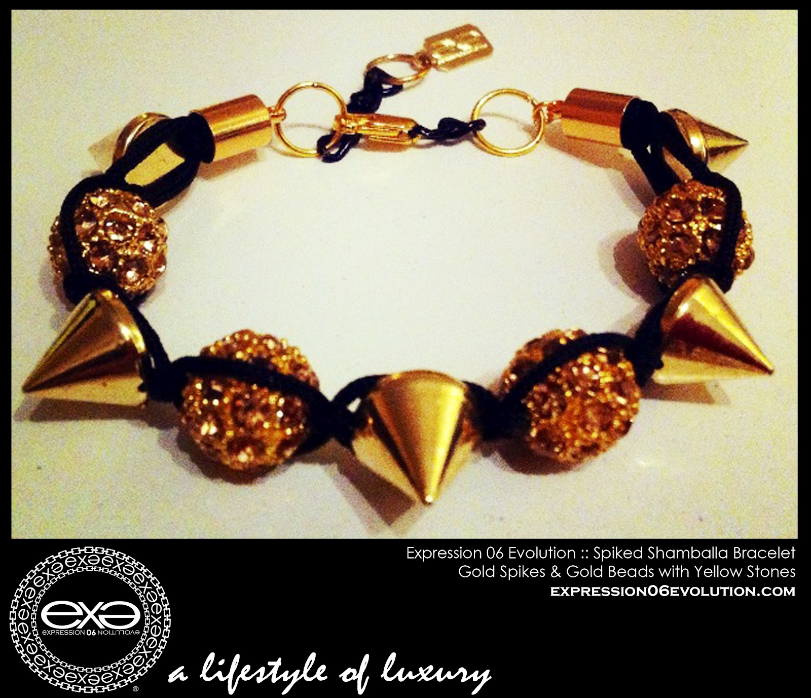 http://3.bp.blogspot.com/-vWvSOdgpv8g/UCY4ibGh5_I/AAAAAAAAB2s/pMrITH37BUI/s1600/EXPRESSION+06+EVOLUTION+-+SPIKED+SHAMBALLA+BRACLET+-+GOLD+SPIKES+WITH+YELLOW+STONES+-+EXPRESSIVE+CLOTHING+LLC+-+DUSHON+EX+DANIELS+-+ALEXIS+BELSKI+.jpg