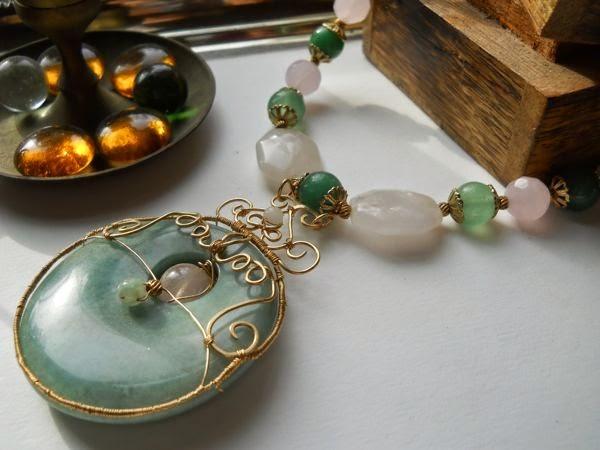14kt gf filigree, green aventurine and rose quartz, necklace