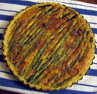 Asparagus and spinach quiche ~ Ham Pie Sandwiches