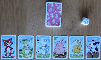 Wollmilchsau - The six animals, the deck of cards and the dice