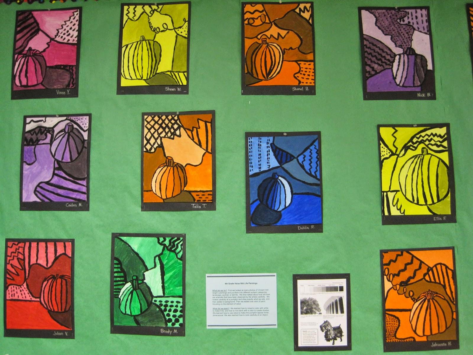 Zilker Elementary Art Class: 4th Grade Still Life Bulletin Board