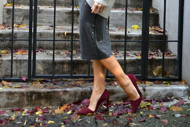 sequin skirt and burgundy heels  holiday style