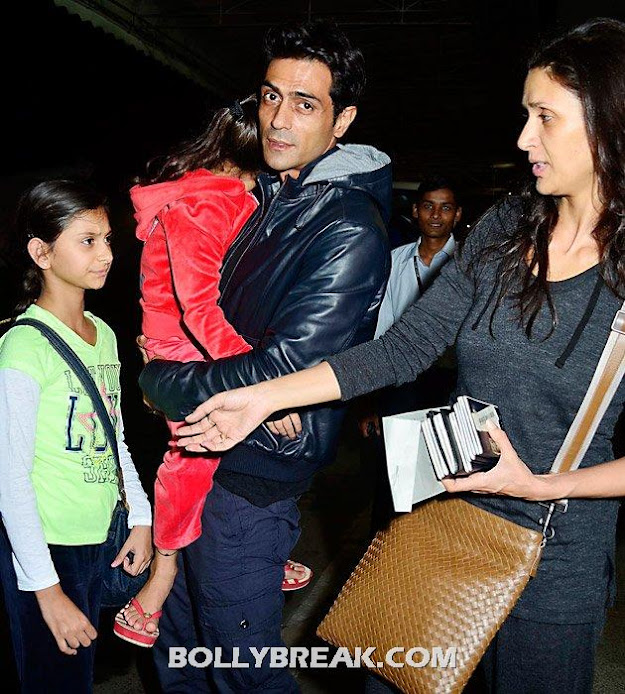 Arjun rampal, mehr jessia and kids -  Celebrities @ airport