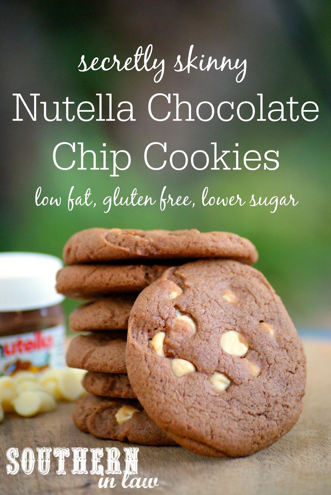 Secretly Skinny Gluten Free Nutella Chocolate Chip Cookie Recipe - low fat, gluten free, lower sugar