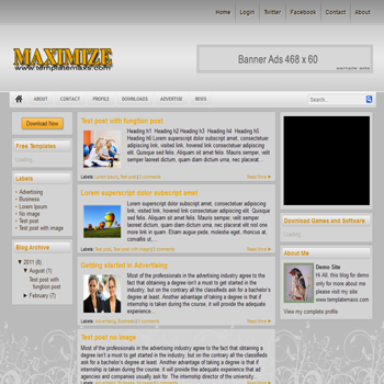 Maximizie blogger template. 3 column blogspot template