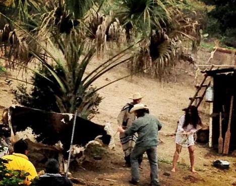 """las grabaciones de la telenovela """"Corazón indomable"""" (Foto: Twitter"""