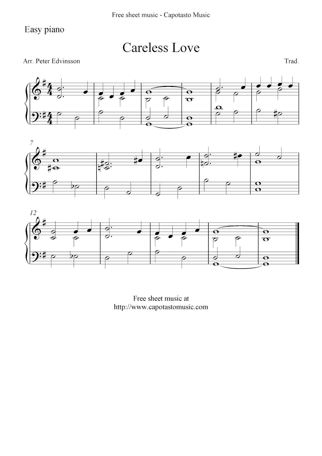 Easy piano solo with the melody Careless Love. Free piano sheet music ...