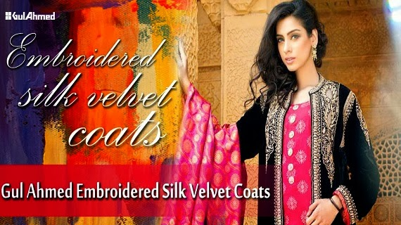 Gul-Ahmed Embroidered Dresses Silk Velvet Coats