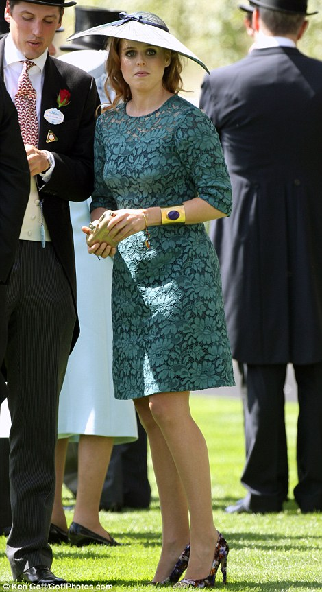 Princess Beatrice in a Suzannah dress and hat by milliner Sara Cant on day 1 at Royal Ascot, 2014