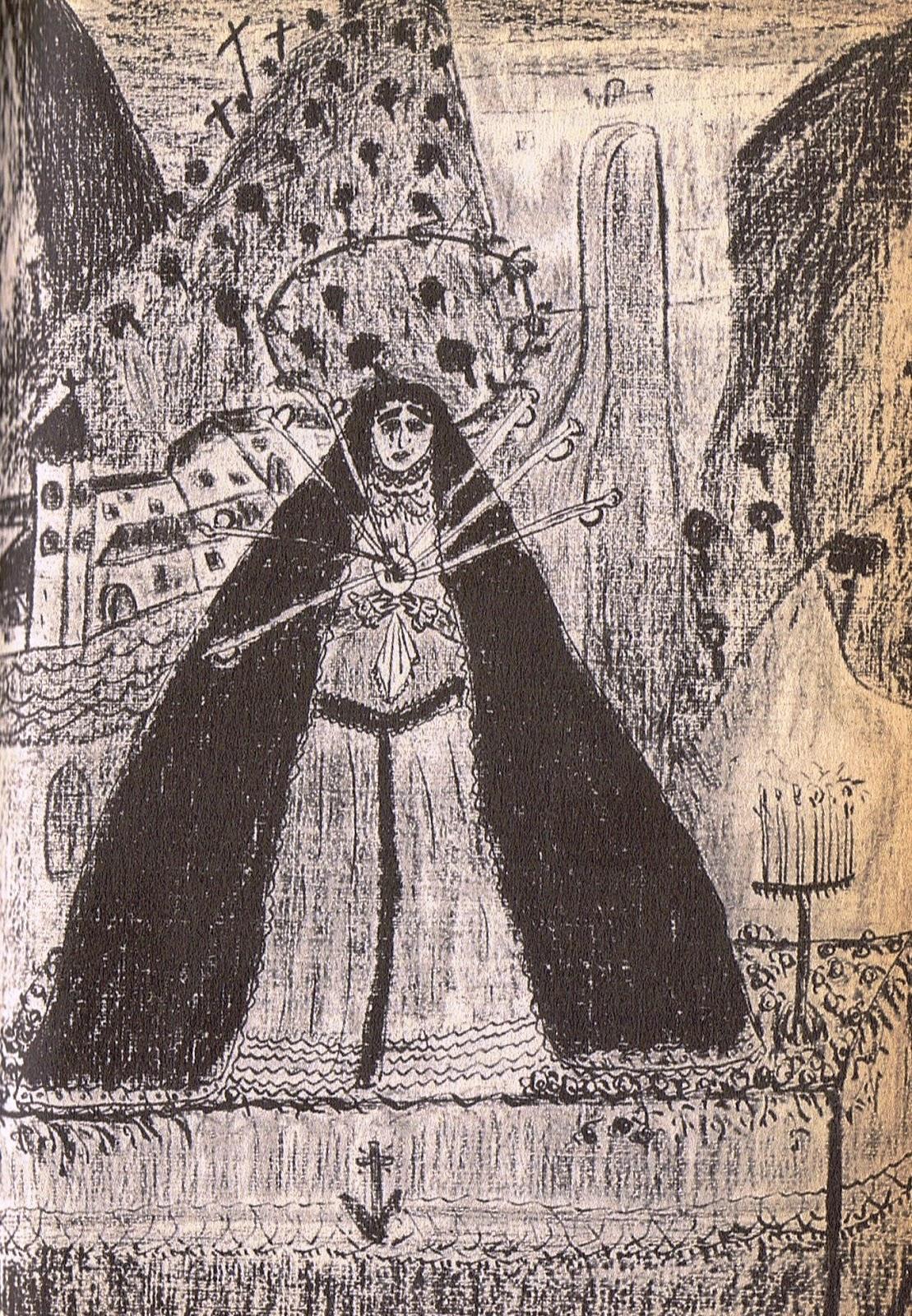 Dibujo de Lorca. Representa a la Virgen de los Siete Dolores