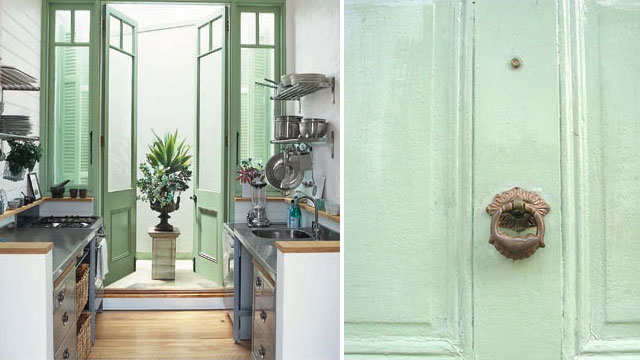 I love the mint doors that lead into the little courtyard and the teeny galley kitchen (The Glam Lamb). And finally a lovely mint front door detail via ... & Build House Home: More mint-spiration...