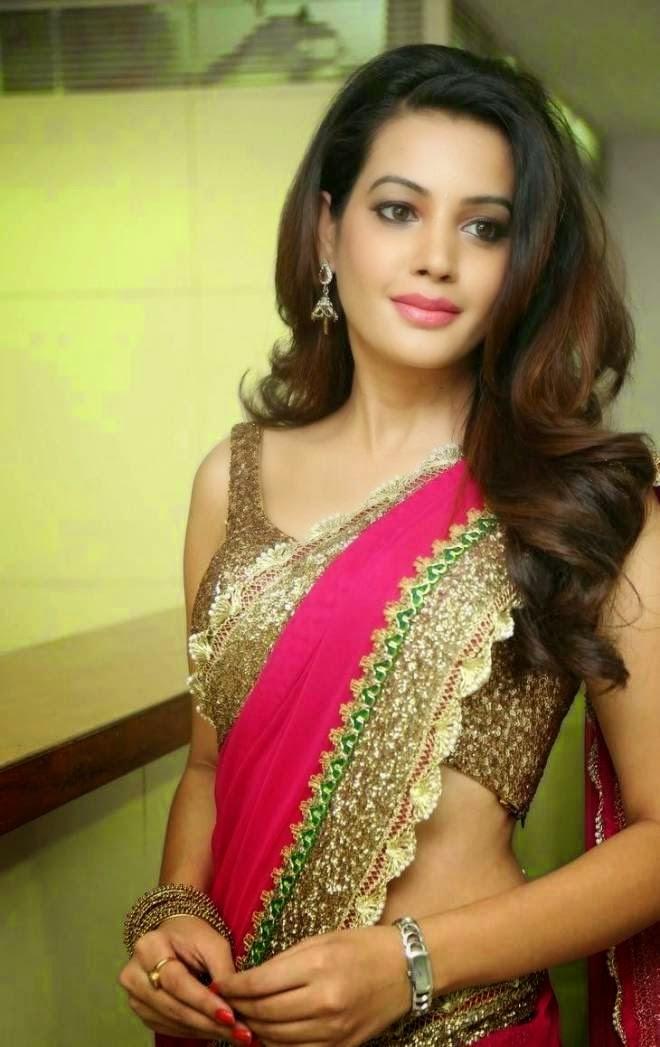 Diksha Panth Hot Navel Show Saree Photos