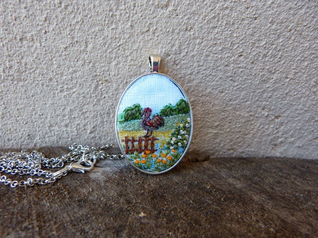 biżuteria, handmade jewerly, embroidered jewerly, naszyjnik z haftem, embroidered pendant, embroidered necklace