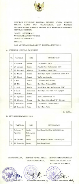SKB 3 Menteri Indonesia Mengenai Hari Libur Nasional dan Cuti Bersama pada Kalender 2013