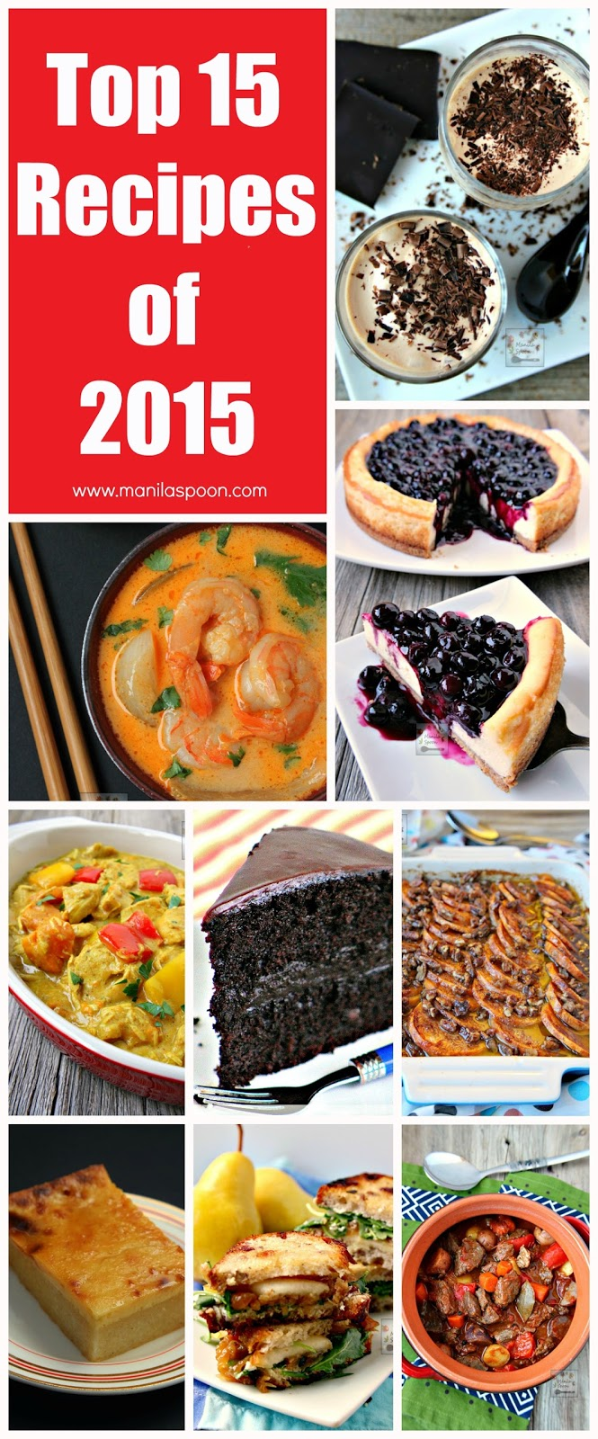 A round-up of our most popular, most pinned and most viewed recipes of 2015! A variety of tried and tested, sweet and savory dishes that the whole family can enjoy throughout the years to come! | manilaspoon.com