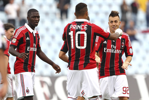 Stephan El Shaarawy (C) of AC Milan scores their first goal during the