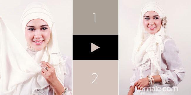 Kreasi Jilbab Dengan Heaband Mutiara