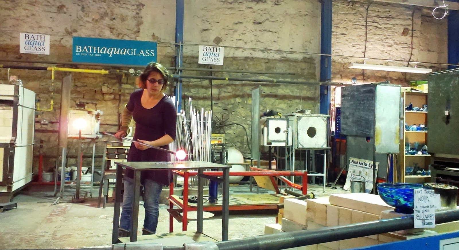 Bath Aqua Glass Glassblowing
