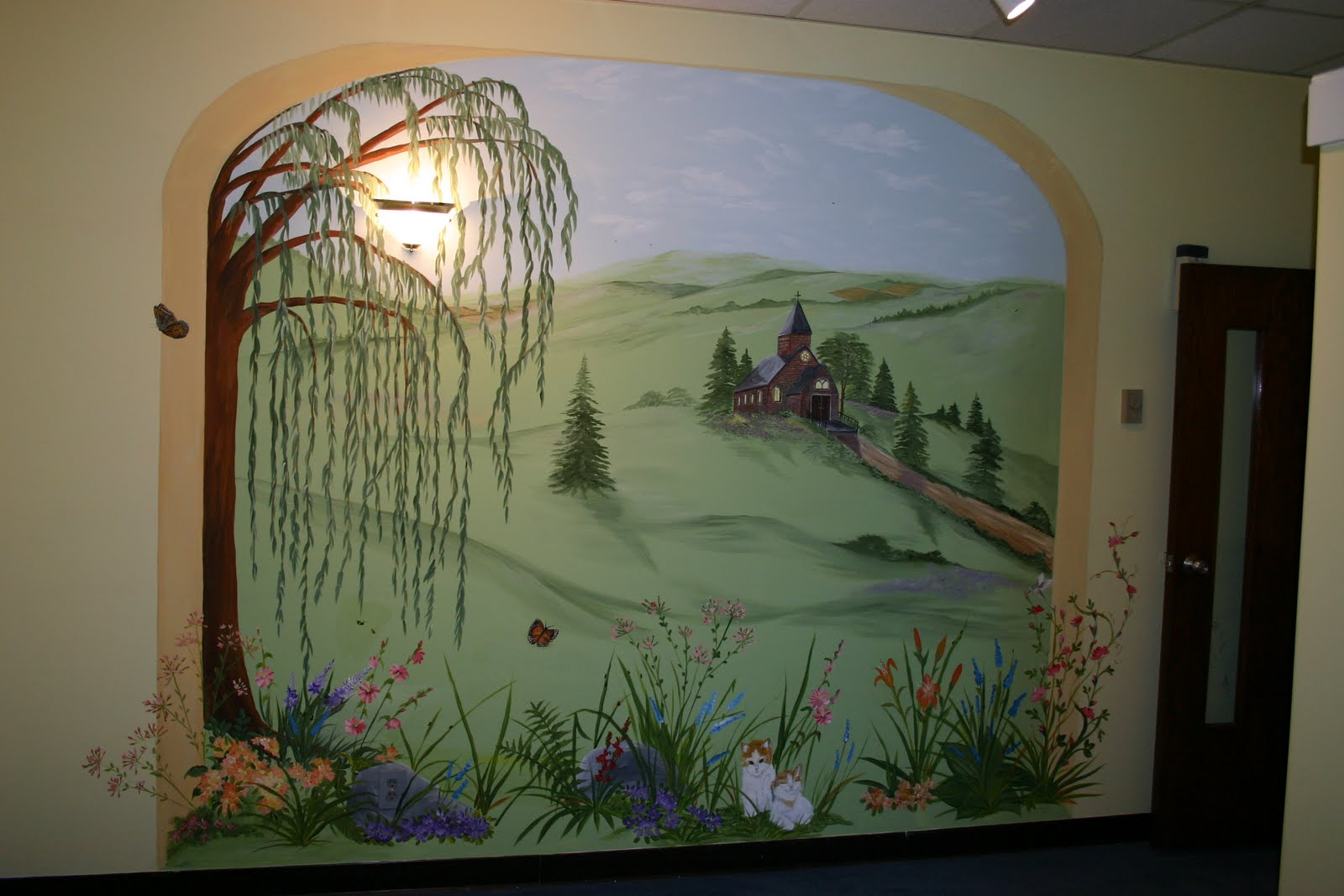 Dddesigns murals church nursery for Church nursery mural