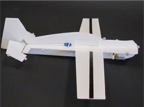 glider incorporates a single servo motor, to control the elevator on the tail