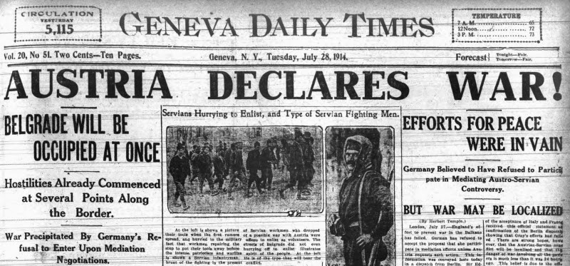 Top of the front page of the Geneva Daily Times, July 28, 1914 with war declaration.