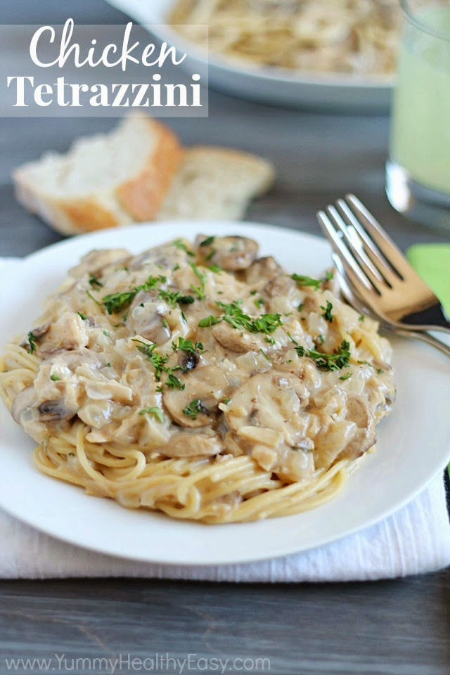 Chicken Tetrazzini | Easy, delicious & creamy chicken and mushroom mixture served over spaghetti.