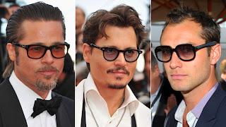 Brad Pitt, Johnny Depp, and Jude Law in light lens sunglasses
