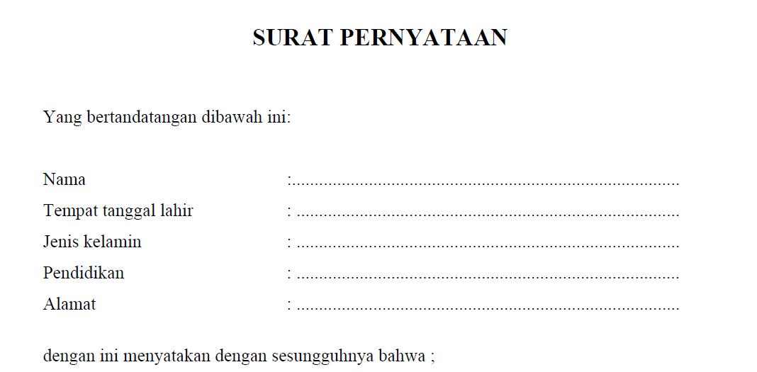 Contoh format surat pernyataan betara contoh format surat pernyataan altavistaventures Choice Image