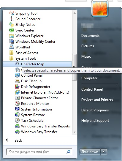 Shortcut to Character Map on Windows 7
