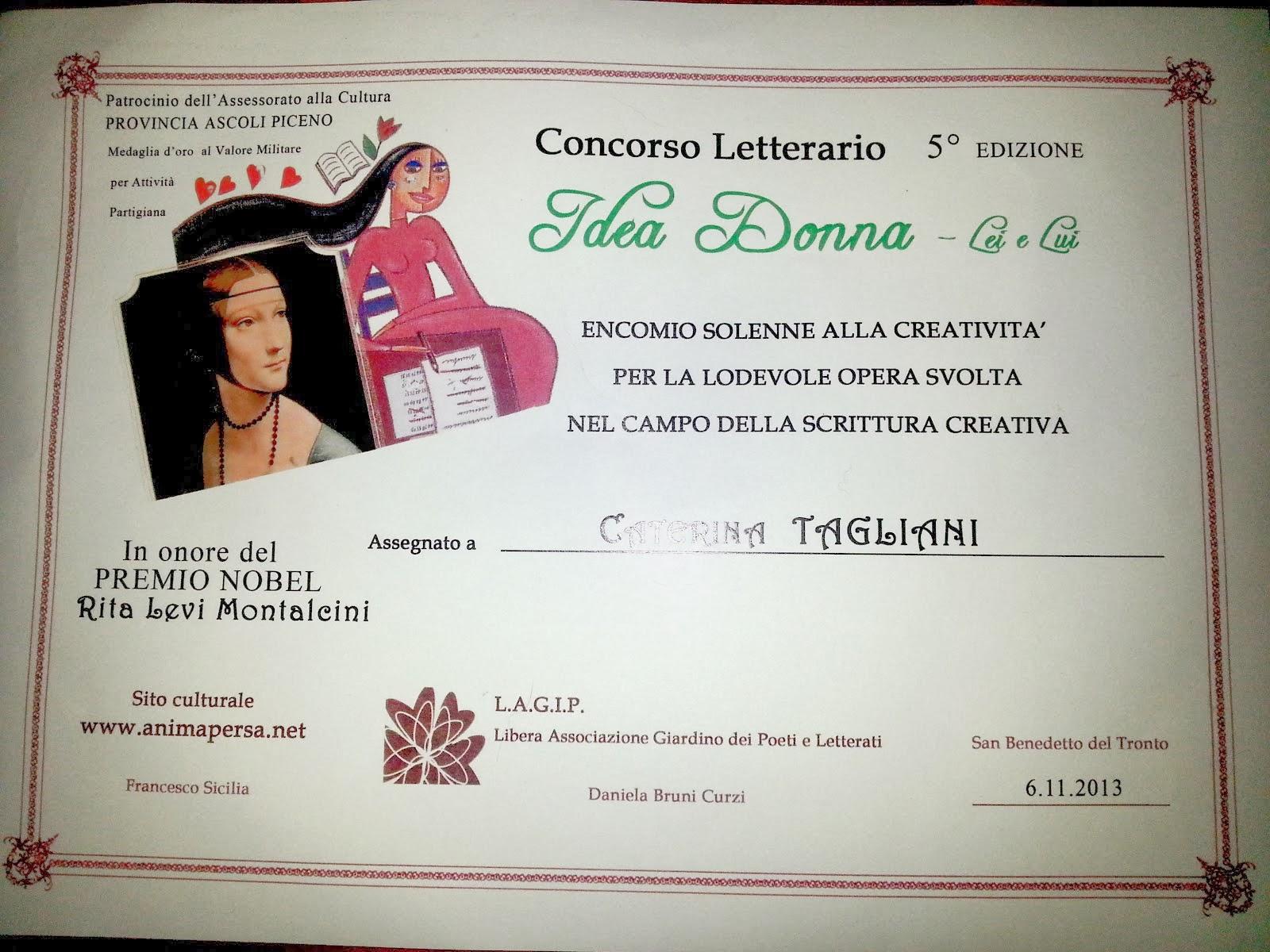 """Concorso Letterario """"Idea Donna""""-2013"""