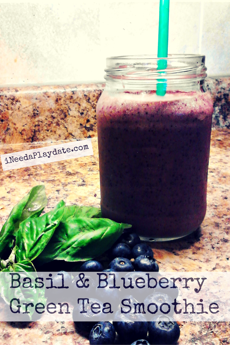 Basil and Blueberry Green Tea Smoothie