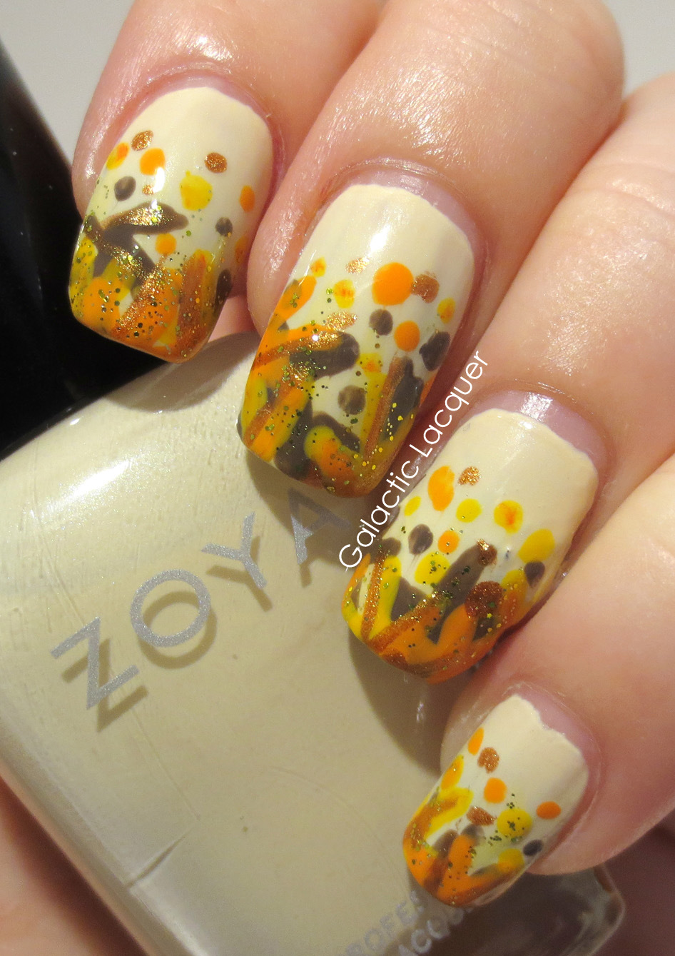 Galactic Lacquer: Falling Forward Nail Art Challenge - Leaves
