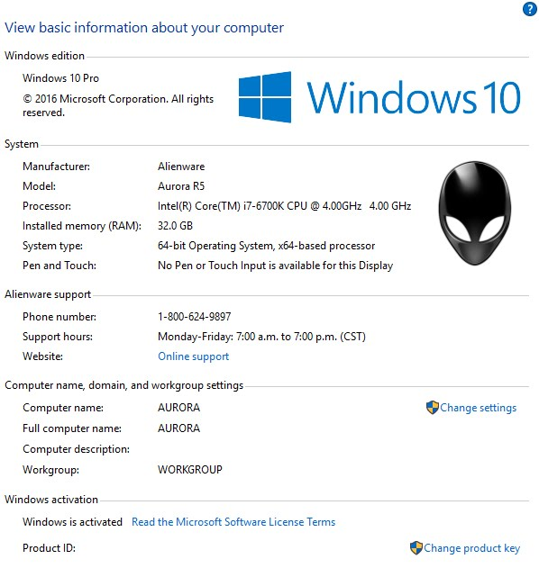 alienware product key for windows 7