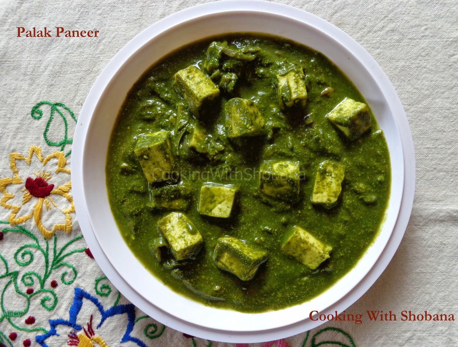 Cooking With Shobana : PALAK PANEER